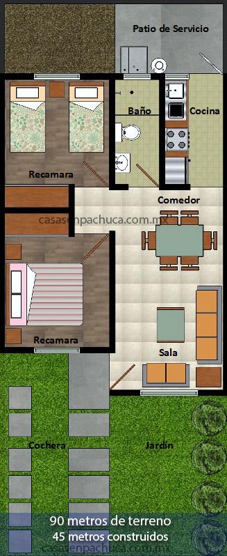 Casas infonavit pachuca de 90m2 desde 350mil for Planos de casas quma